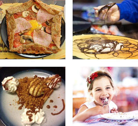 Quatre photos des différentes crêpes et galettes bretonnes à déguster au restaurant crêperie Les Trois Lys à Chartres (28)